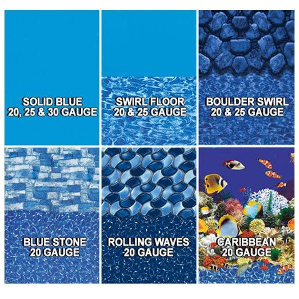30 Gauge 30Ft Round Overlap Above Ground Pool Liner Solid Blue