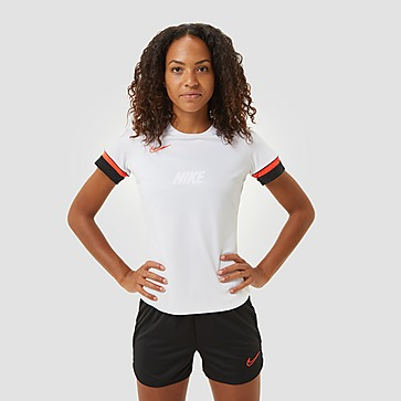 NIKE DRI-FIT ACADEMY VOETBALSHIRT WIT/ROOD DAMES