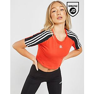 9298c82a44ce9 adidas Originals 3-Stripes Crop Panel Slim T-Shirt ...