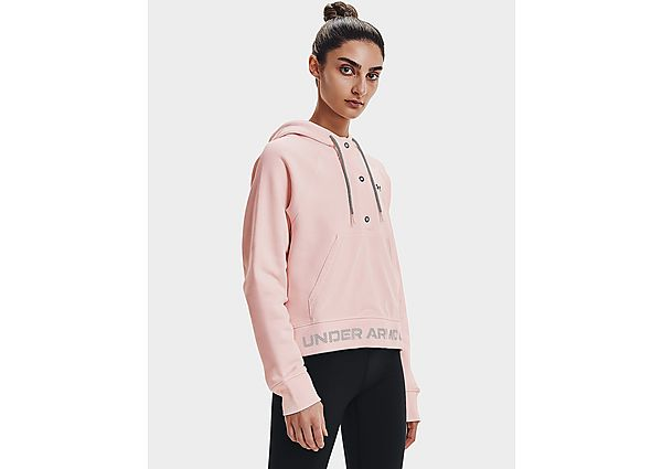 Under Armour Rival Fleece Mesh Hoodie - Micro Pink - Womens