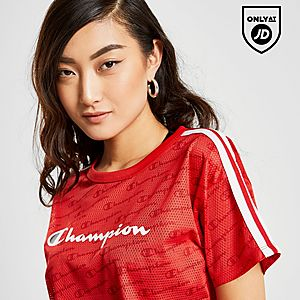 240b3771e Champion Logo Mesh Crop T-Shirt