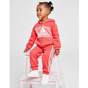 4ce32044 adidas Girls' Logo Full Zip Hooded Suit Infant ...