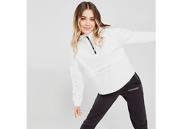 Calvin Klein Performance Logo 1/4 Zip Hoodie - White