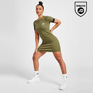 SikSilk Rib Tape Logo Short Sleeve Dress