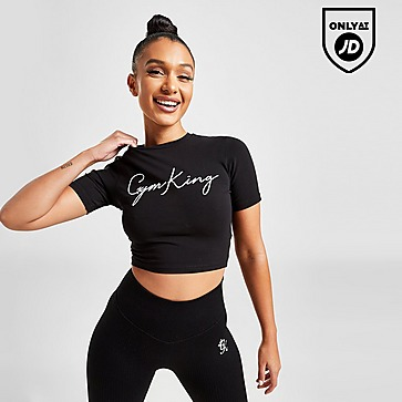 Gym King Script Slim Crop T-Shirt