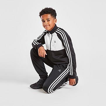 adidas 3-Stripes Poly Full Zip Tracksuit Junior