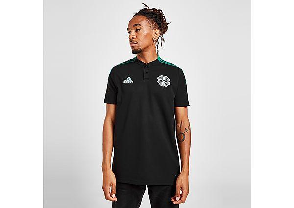 adidas Celtic FC Cotton Training Polo Shirt - Black - Mens