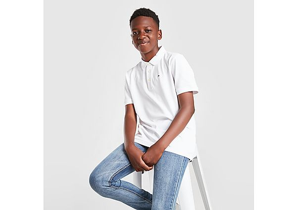 Tommy Hilfiger Small Flag Logo Polo Shirt Junior - White - Kids