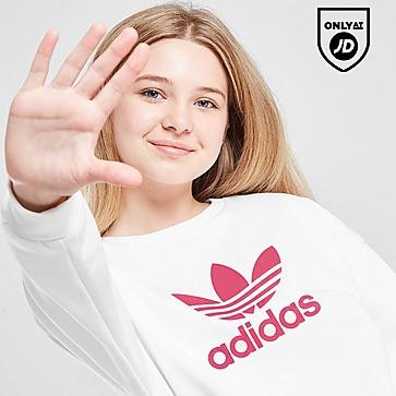 adidas Originals Girls' Trefoil Boyfriend Crew Sweatshirt Junior