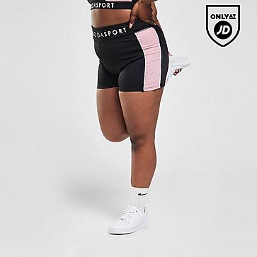 """Pink Soda Sport Plus Size Bum Sculpt Colour Block 3"""" Shorts"""
