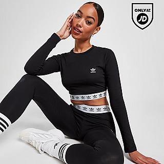 adidas Originals Trefoil Tape Long Sleeve Crop T-Shirt