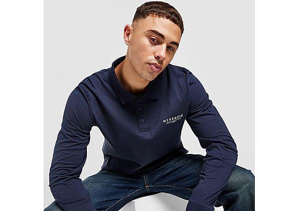 McKenzie Essential Long Sleeve Polo Shirt - Blue - Mens