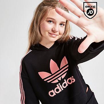 adidas Originals Girls' Crop Trefoil Hoodie Junior