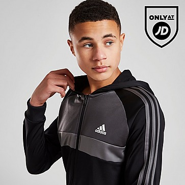 adidas Full Zip Hooded Poly Fleece Tracksuit Junior