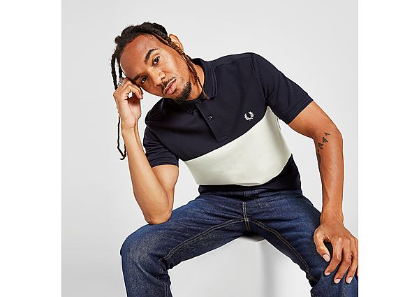 Fred Perry Colour Block Polo Shirt - Navy - Mens