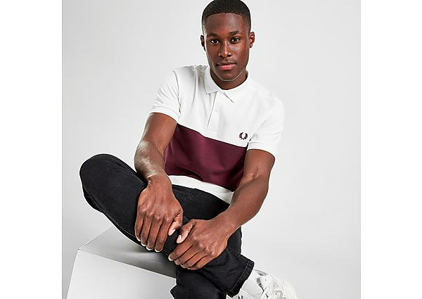 Fred Perry Colour Block Polo Shirt - Red - Mens