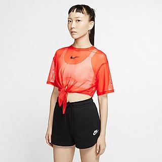 Nike Swoosh Mesh Tie Crop T-Shirt Women's