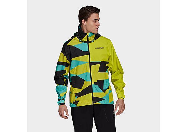 adidas Terrex Multi RAIN.RDY Primegreen Allover Print 2-Layer Rain Jacket - Acid Yellow - Mens