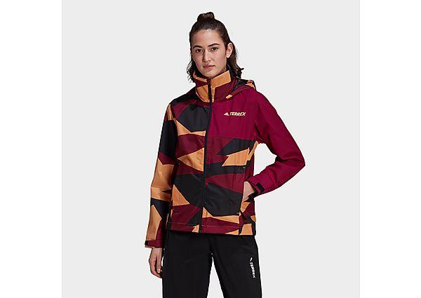 adidas Terrex Multi RAIN.RDY Primegreen Allover Print 2-Layer Rain Jacket - Hazy Orange - Womens