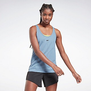 REEBOK UNITED BY FITNESS PERFORATED SPORTSHIRT BLAUW DAMES