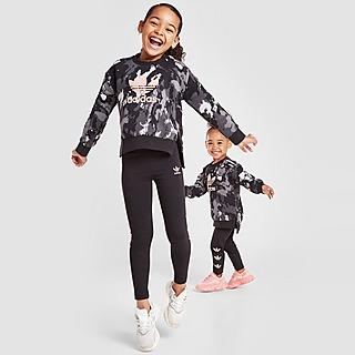 adidas Originals Girls' Tie Dye Crew Sweat/Leggings Set Kleinkinder