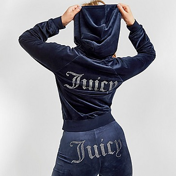 Juicy Couture Diamante Velour Full Zip Hættetrøje Dame