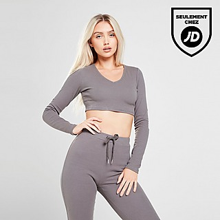 Sixth June Top Ribbed Crop Manches longues Femme