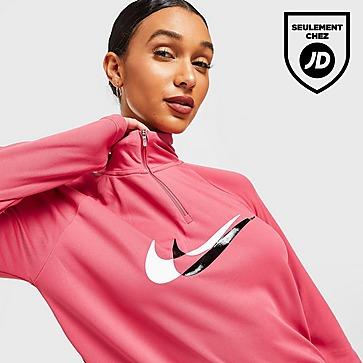 Nike Haut Running Swoosh 1/4 Zippé Femme