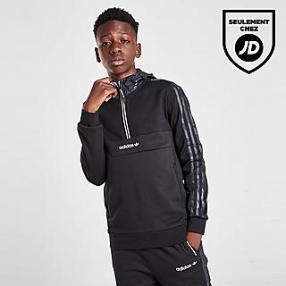 adidas Originals Camo Mixed Fabric 1/2 Zip Hoodie Junior
