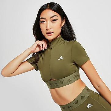 adidas Shine Tape Crop Short Sleeve Training Top
