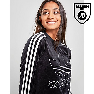 Shoptagr   Adidas Originals 3 stripes Velvet Long Sleeve T