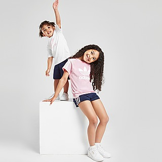 adidas Originals Girls' 3-Stripes T-Shirt/Shorts Set Children