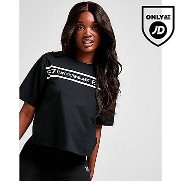 Emporio Armani EA7 Tape Front Crop T-Shirt Women's
