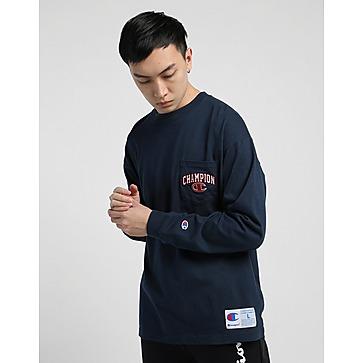 Champion Curve Script Logo Long Sleeves Pocket T-Shirt