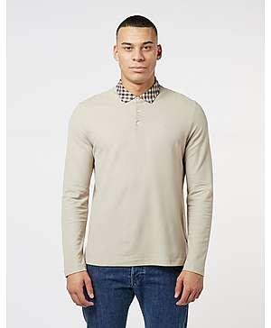 44f596442 Aquascutum Club Check Collar Long Sleeve Polo Shirt ...