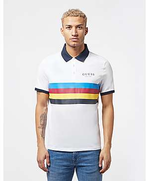eb4ffa534 Guess Stripe Panel Short Sleeve Polo Shirt ...