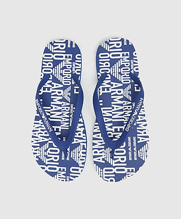 Emporio Armani Loungewear All Over Print Logo Flip-Flops
