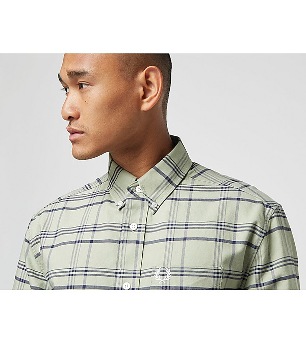 green-fred-perry-tonal-check-long-sleeve-shirt