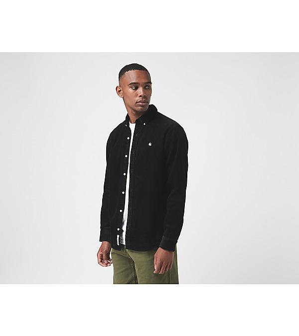black-carhartt-wip-madison-cord-long-sleeve-shirt