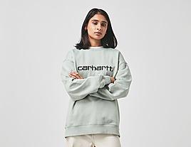 green-carhartt-wip-script-sweatshirt-womens
