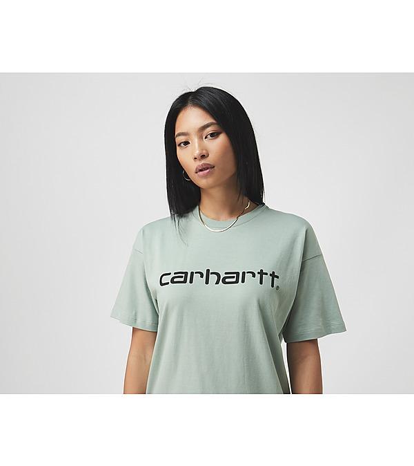 green-carhartt-wip-script-t-shirt