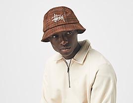 brown-stussy-big-logo-plaid-bucket-hat