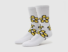 white-huf-pushing-daisies-sock