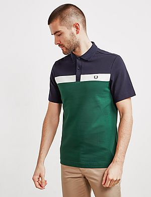 616fce989b Fred Perry Panel Pique Short Sleeve Polo Shirt ...