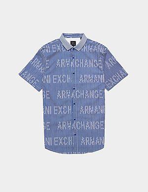 e8dd29ab7 Armani Exchange Logo Stripe Short Sleeve Shirt ...