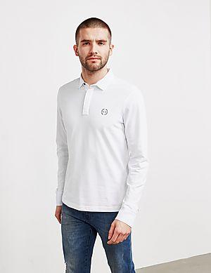 52e53aa4 Armani Exchange Circle Logo Long Sleeve Polo Shirt ...