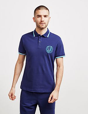 b0867001 Versace Jeans Stitch Logo Short Sleeve Tipped Polo Shirt ...