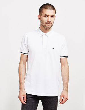 37a43578 Tommy Hilfiger Tape Cuff Short Sleeve Polo Shirt ...