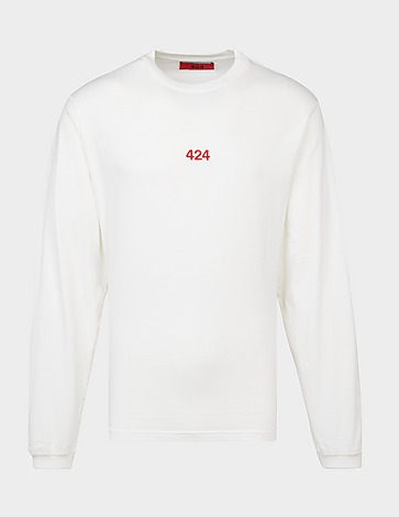 424 Red Embroidered Long Sleeve T-Shirt