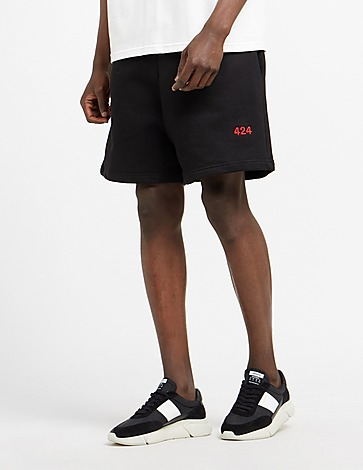 424 Red Embroidered Shorts